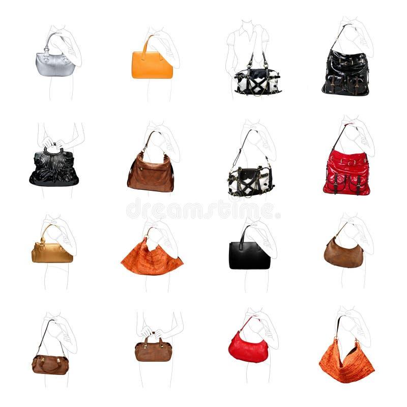 Um woman' bolsa de s em uma variedade branca imagens de stock royalty free