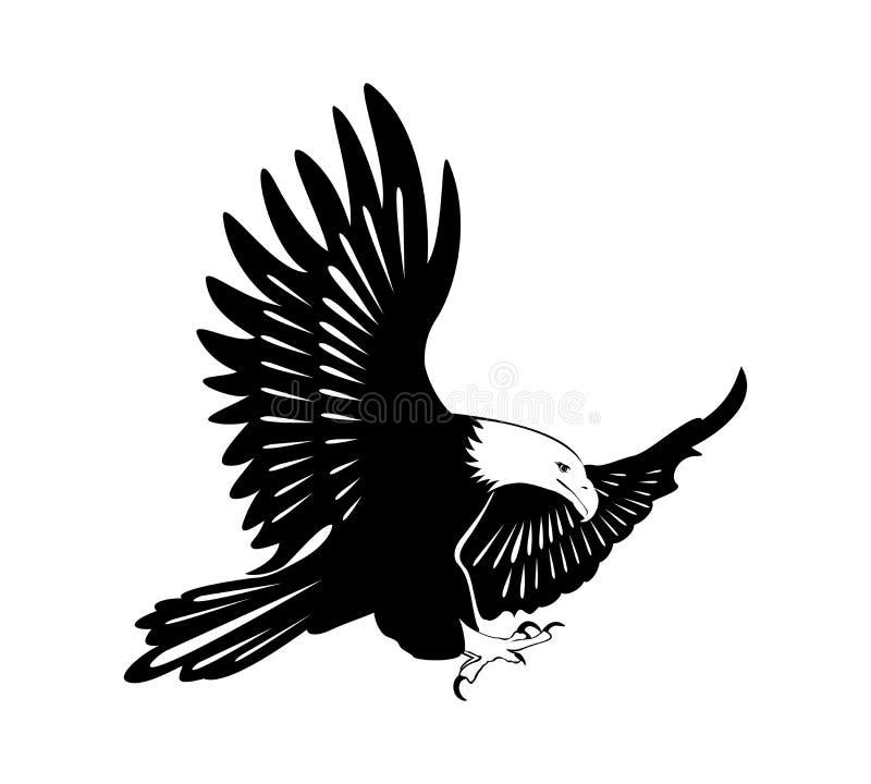 Uma águia com asas abre ilustração stock