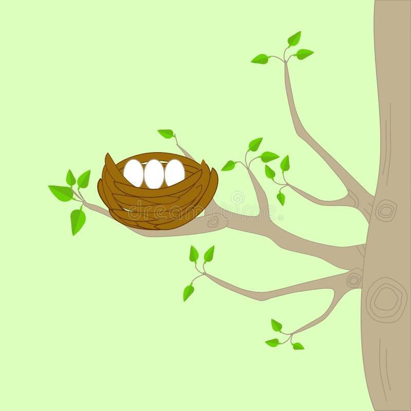 Uma árvore com bird& x27; ninho de s ilustração stock
