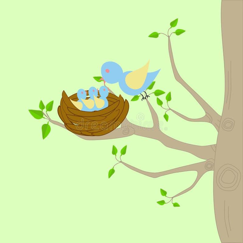 Uma árvore com um ninho e um pássaro ilustração stock