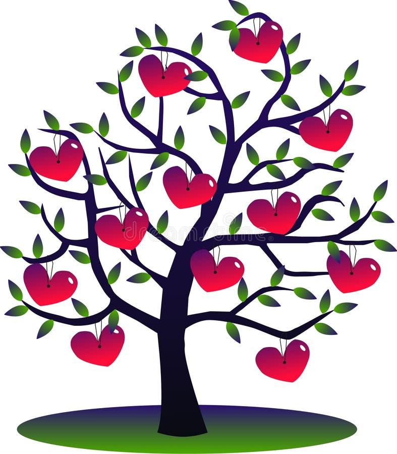 Uma árvore completamente dos corações ilustração do vetor