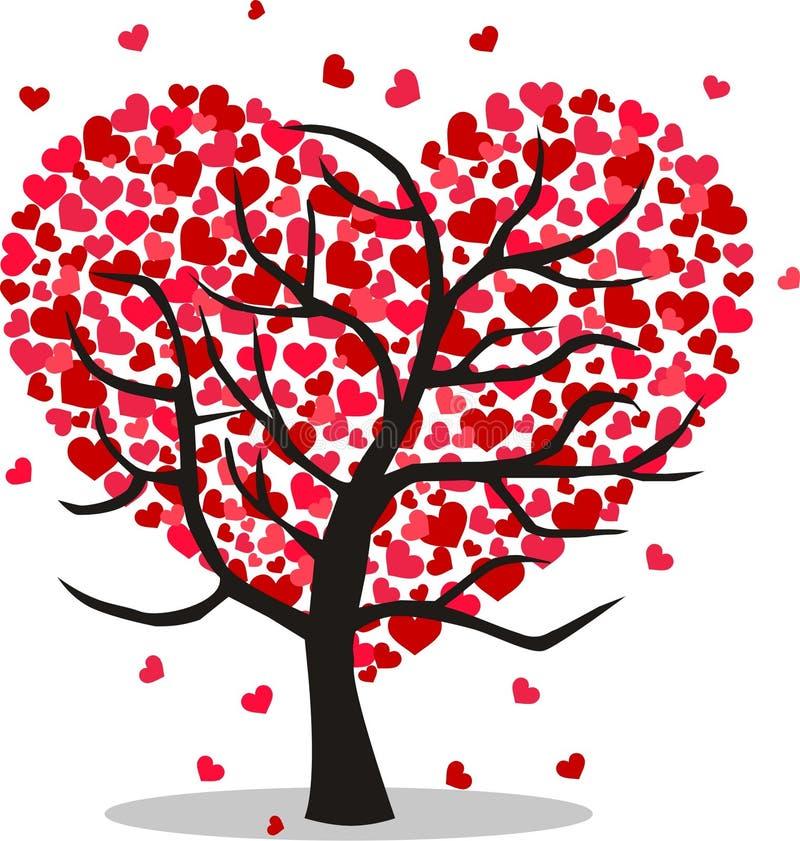 Uma árvore completamente dos corações ilustração stock