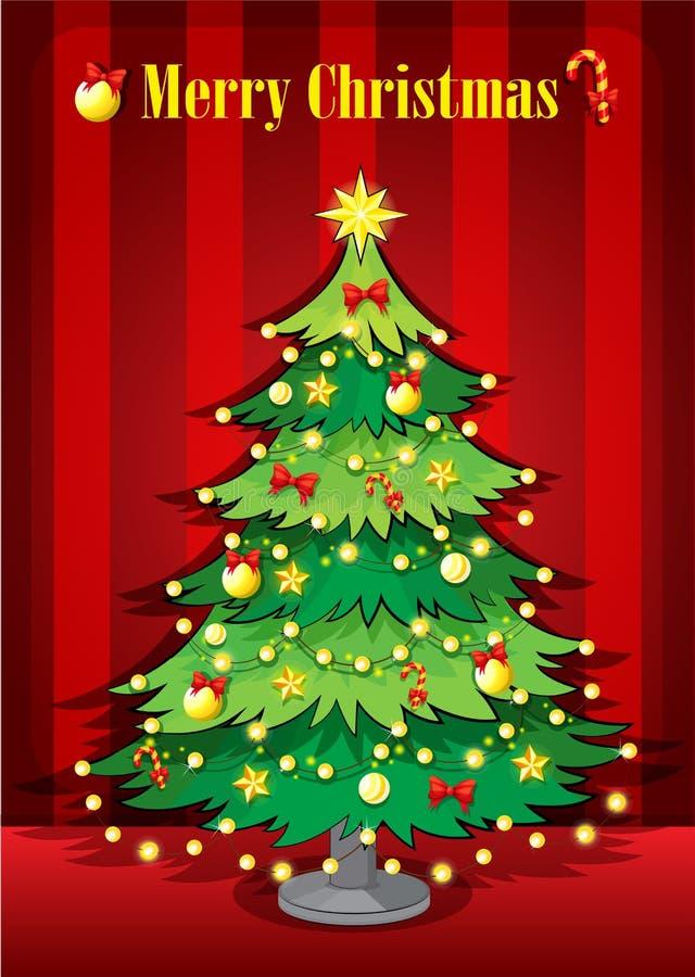 Uma árvore de Natal gigante verde ilustração do vetor