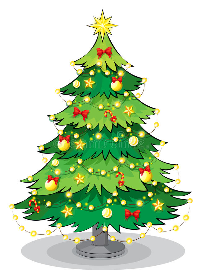 Uma árvore de Natal verde com luzes efervescentes ilustração royalty free