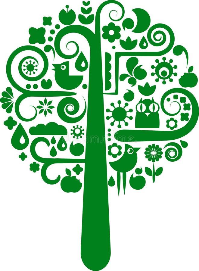 Uma árvore do vetor com coleção de ícones da natureza ilustração do vetor