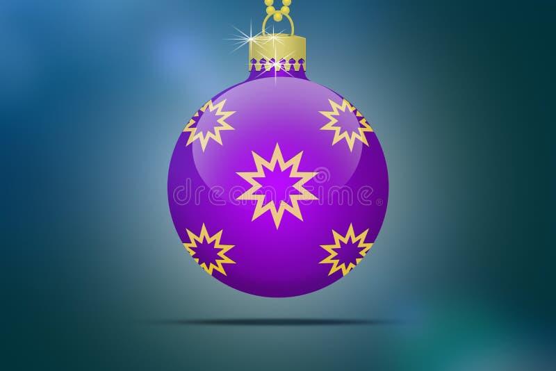 Uma única bola de suspensão roxa da árvore de Natal com os ornamento dourados das estrelas ilustração royalty free