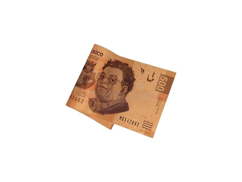 Uma única conta dobrada do peso mexicano 500 isolada no fundo branco fotos de stock
