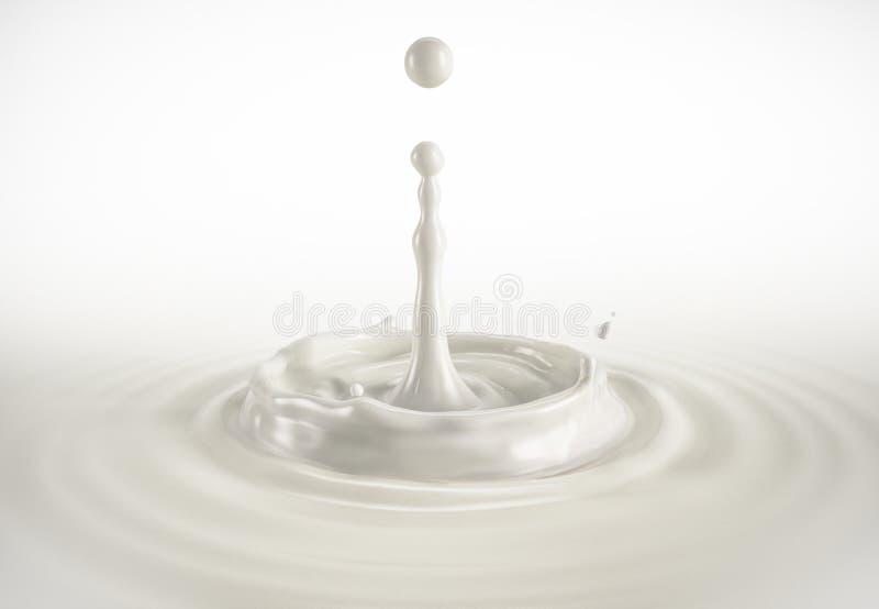 Uma única gota do leite que espirra na associação do leite com as ondinhas ilustração stock