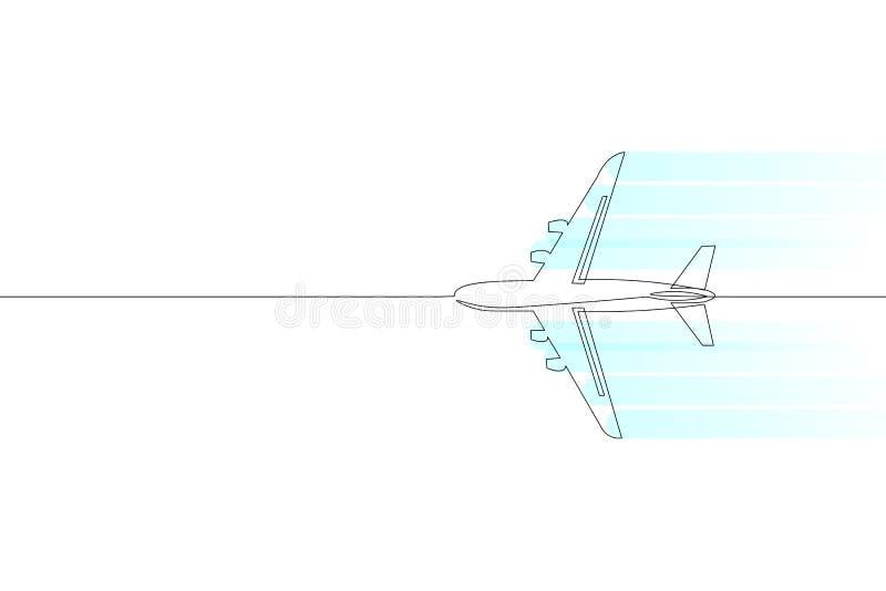 Uma única linha contínua conceito do curso do avião do passageiro da arte Voo rápido ao céu liso esquerdo do branco da viagem da  ilustração stock