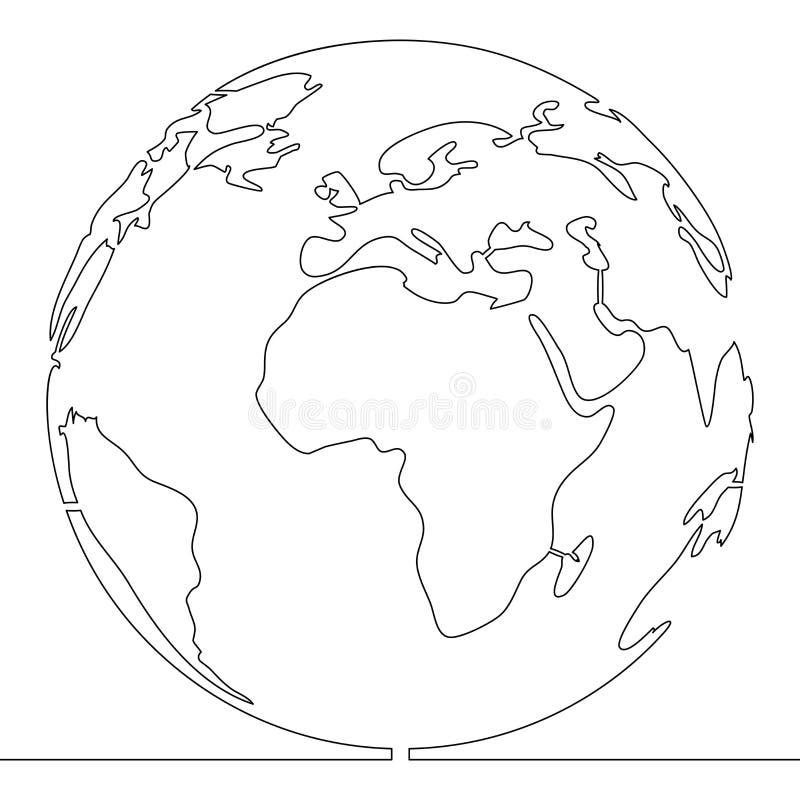 Uma única linha contínua conceito do mundo do estilo ilustração do vetor