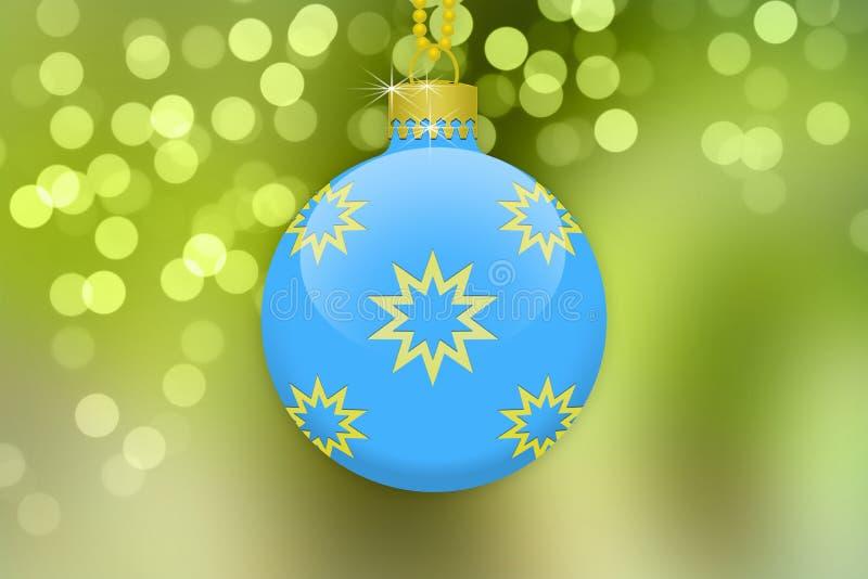 Uma única luz - bola de suspensão azul da árvore de Natal com ornamento dourados em um fundo verde do inclinação com alargamento  ilustração royalty free