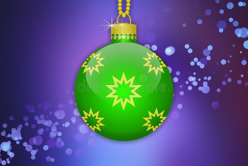 Uma única luz - bola de suspensão verde da árvore de Natal com os ornamento dourados das estrelas em um fundo roxo com alargament ilustração stock