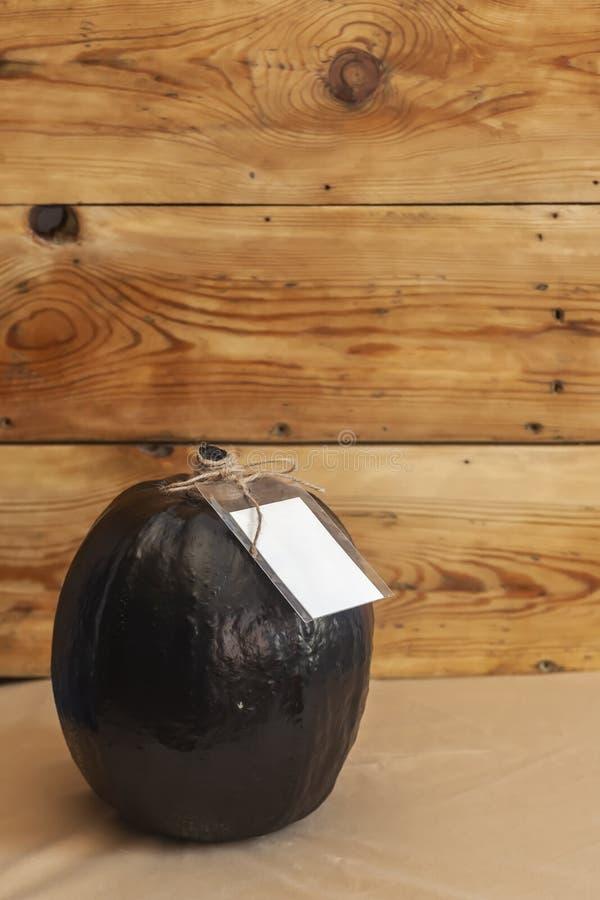 Uma abóbora preta grande com uma etiqueta vazia do Livro Branco imagem de stock