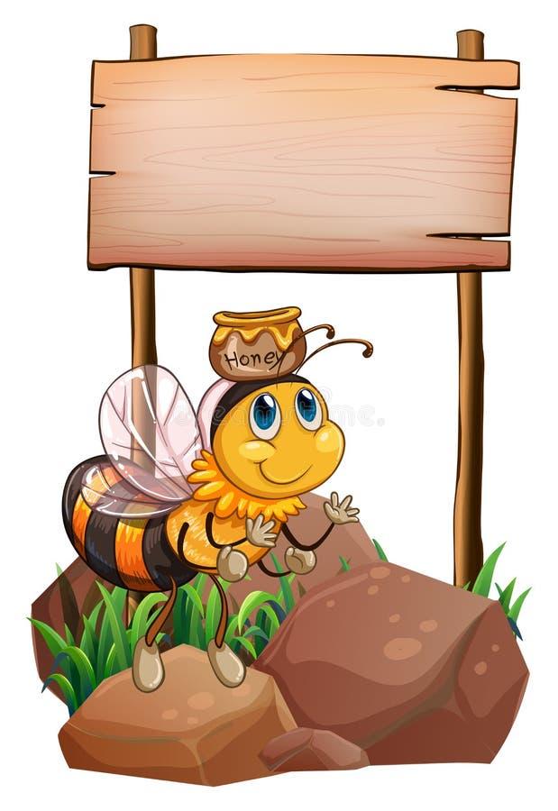Uma abelha acima da rocha perto do signage vazio ilustração royalty free