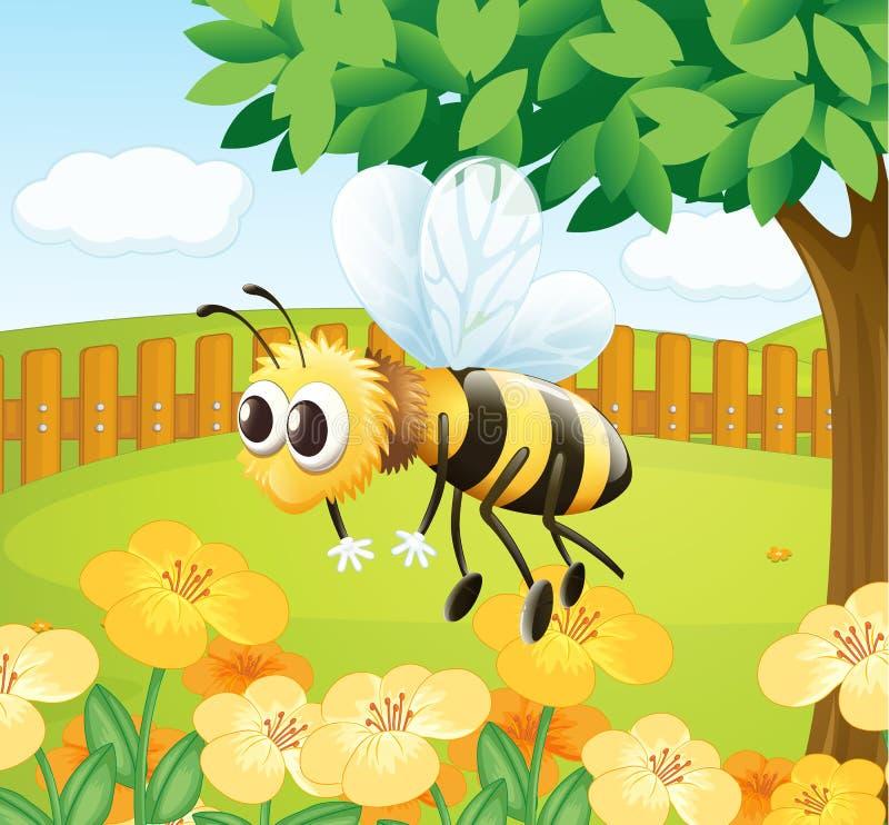 Uma abelha em um jardim cercado ilustração stock