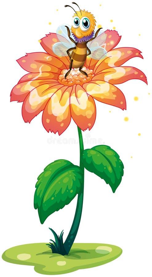 Uma abelha pequena acima da flor gigante ilustração stock