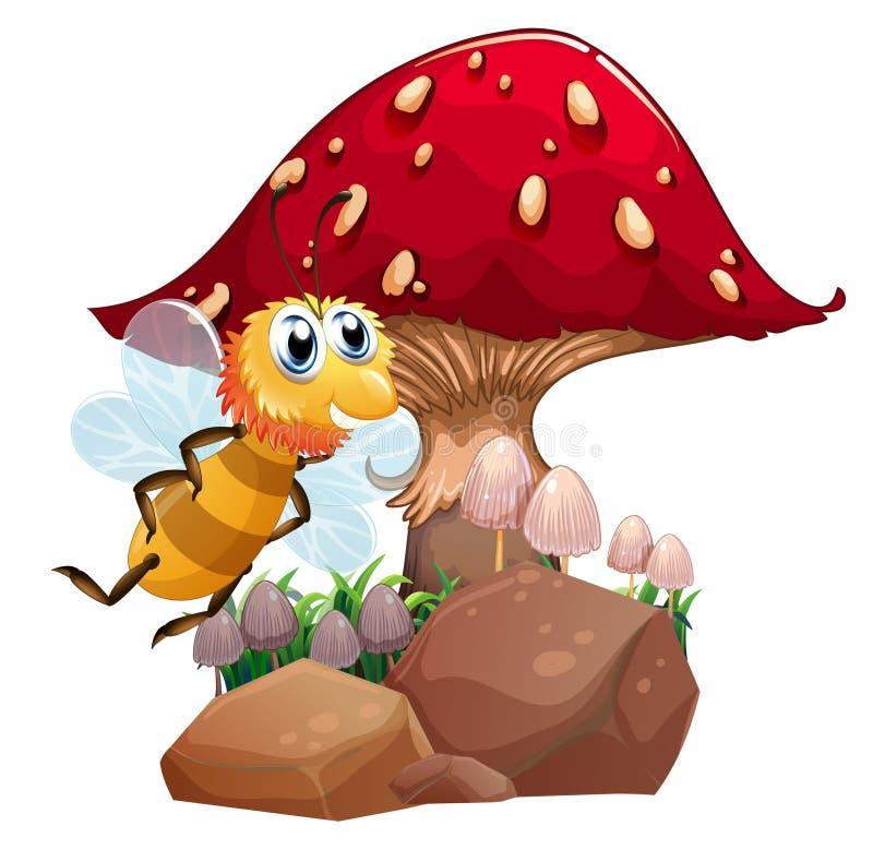 Uma abelha perto do cogumelo gigante vermelho ilustração stock