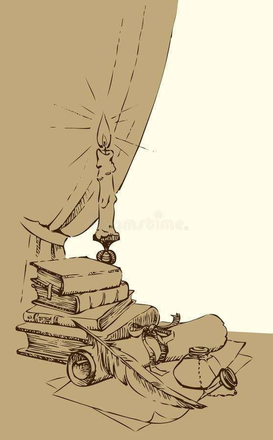 Uma ainda-vida de um tinteiro com uma pena e de um papel contra ilustração do vetor