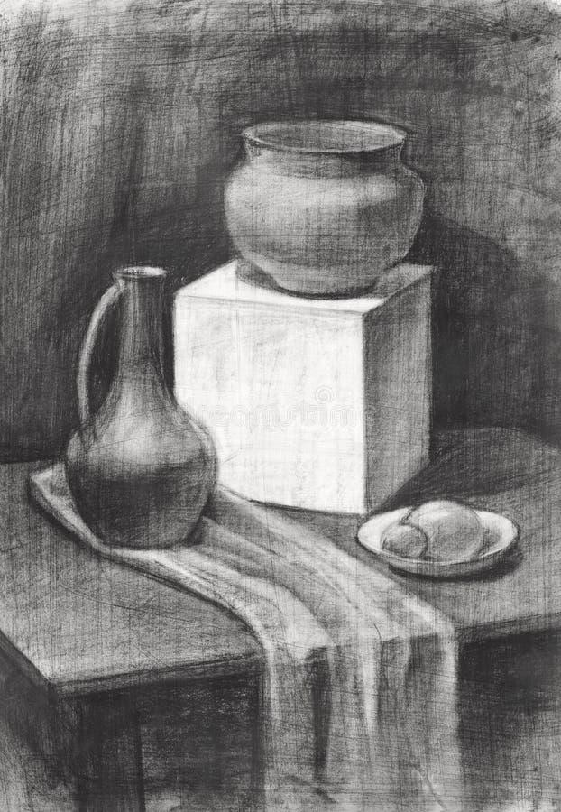 uma ainda-vida pintada no carvão vegetal, uma imagem com um jarro da argila e um cubo do emplastro ilustração stock