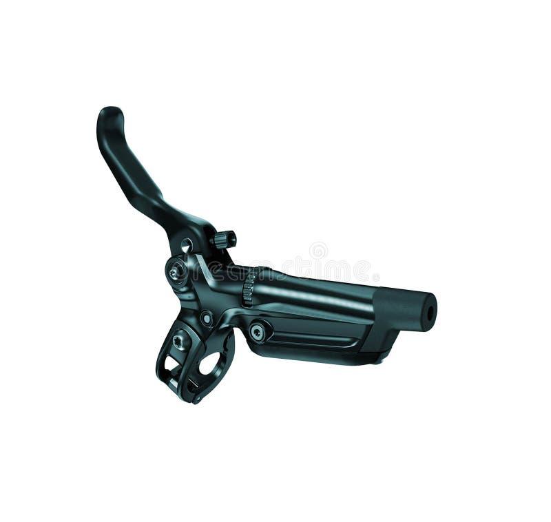Uma alavanca preta da bicicleta isolada no branco imagens de stock royalty free