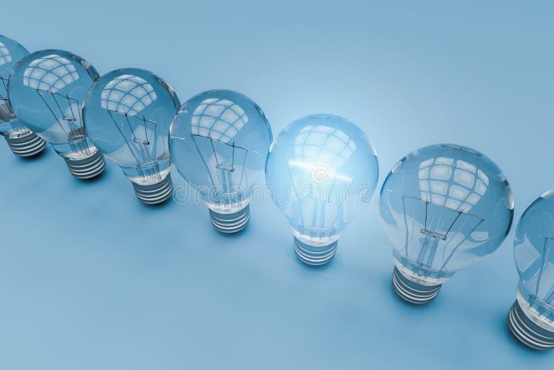 Uma ampola que está para fora de outros bulbos, rendição 3d ilustração do vetor