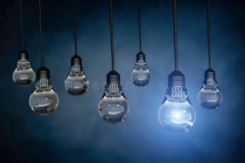 Uma ampola que está para fora de outros bulbos, rendição 3d ilustração stock
