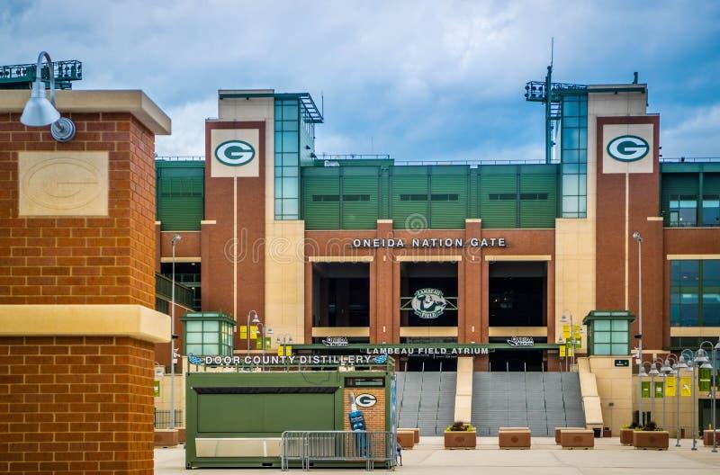 Uma arena exterior em Green Bay, Wisconsin do futebol imagens de stock royalty free