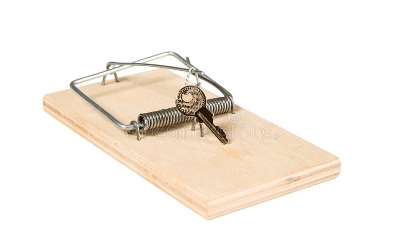 Uma armadilha do rato com chaves imagem de stock