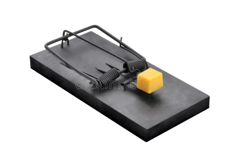 Uma armadilha preta do rato isolada no branco fotos de stock royalty free