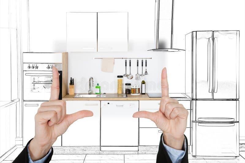 Uma arquitetura que apresenta o projeto do interior da cozinha foto de stock