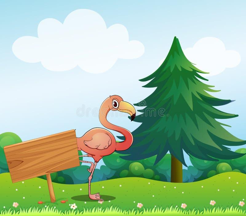 Uma avestruz ao lado de um signage vazio ilustração stock