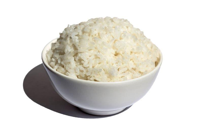 Uma bacia completa de arroz cozinhado imagem de stock royalty free