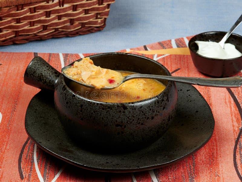 Uma bacia de Romanian da sopa das entranhas: Grupo de Ciorba de Burta em um guardanapo vermelho colocado em uma toalha de mesa az fotos de stock royalty free