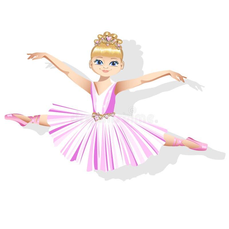 Uma bailarina pequena doce em um vestido brilhante e em uma tiara bonita ilustração stock