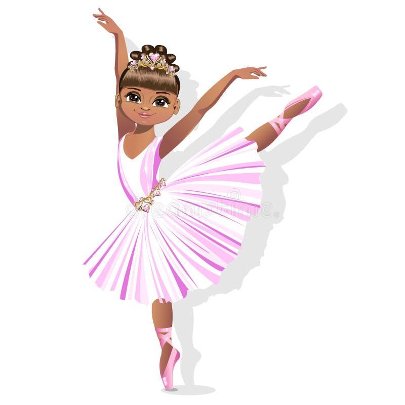 Uma bailarina pequena doce em um vestido brilhante e em uma tiara bonita ilustração do vetor