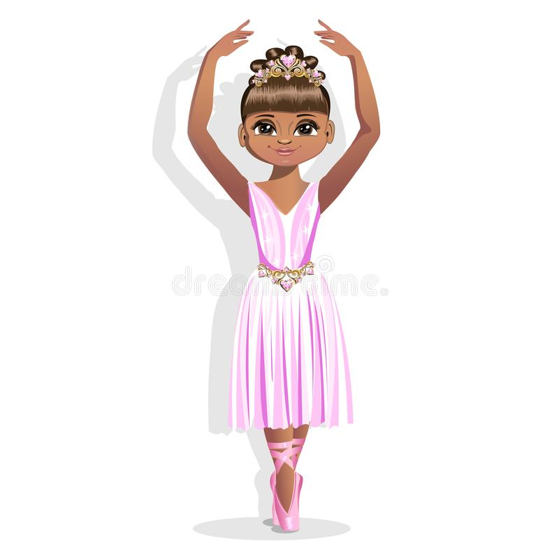 Uma bailarina pequena doce em um vestido brilhante e em uma tiara bonita ilustração royalty free
