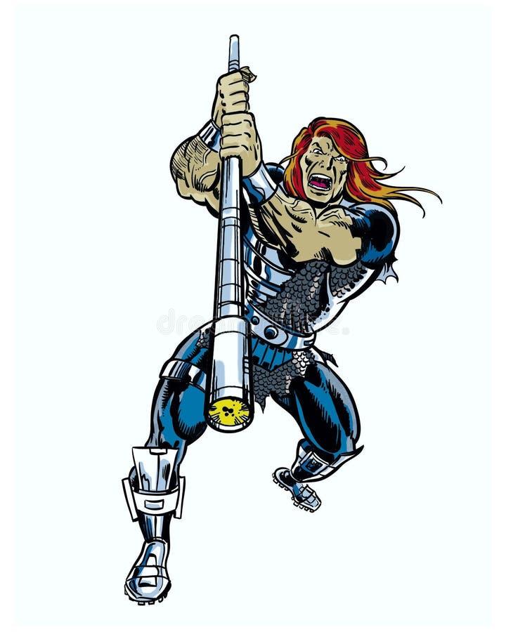 Uma banda desenhada ilustrou o caráter com ataque do pessoal do poder ilustração do vetor