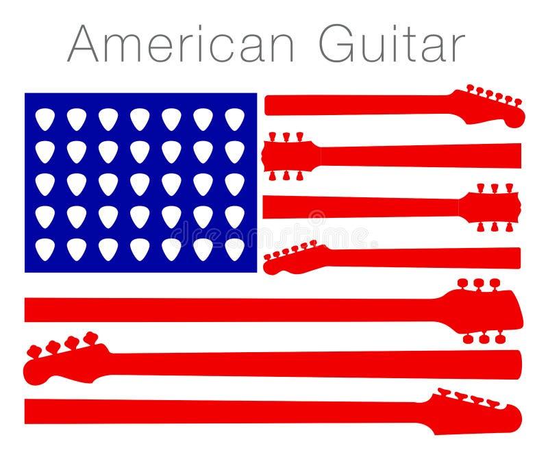 Uma bandeira americana feita fora das peças da guitarra ilustração do vetor