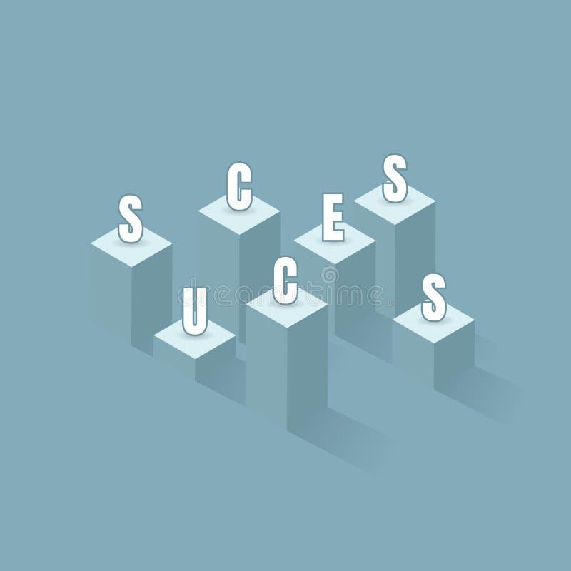 Uma bandeira do sucesso negócio do gráfico de barra ao sucesso da programação financeira Líder, vencedor e conceito do sucesso Il ilustração royalty free