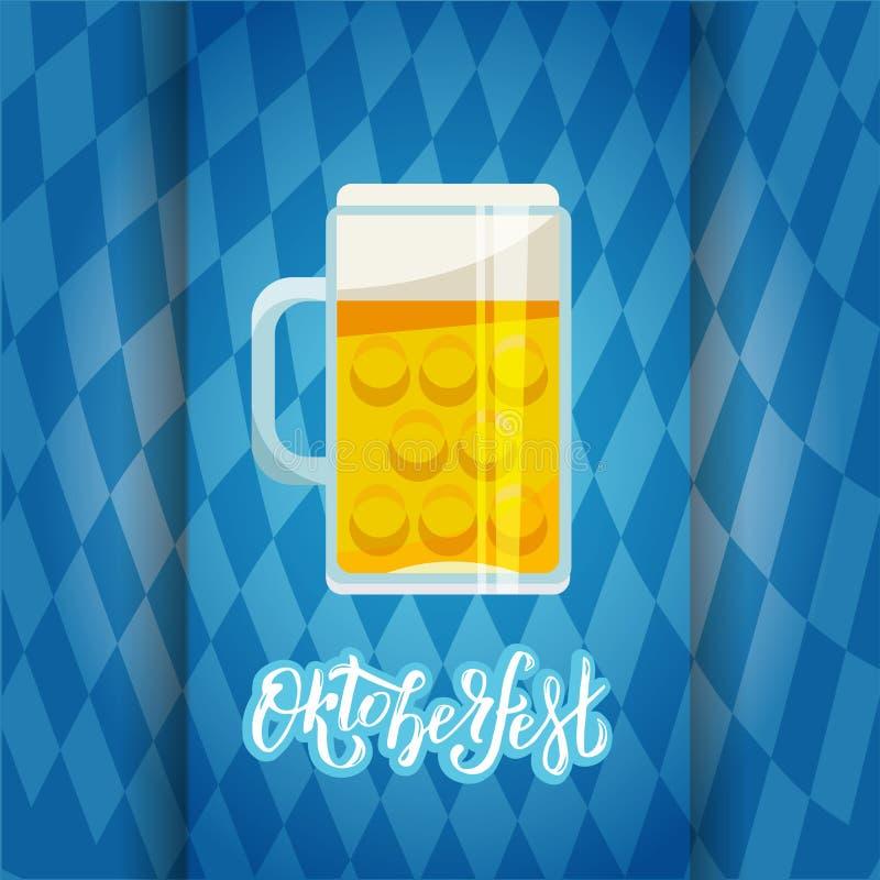 Uma bandeira multi-mergulhada com um Oktoberfest que rotula o sinal e uma ilustração lisa de uma grande caneca de cerveja no fund ilustração royalty free