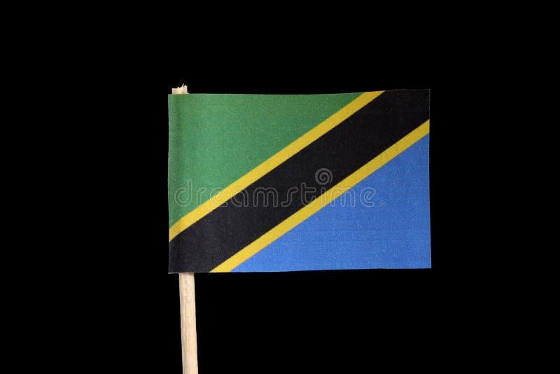 Uma bandeira oficial nacional de Tanzânia no palito no fundo preto Uma faixa diagonal preta afiada amarela O triângulo superior é imagens de stock royalty free