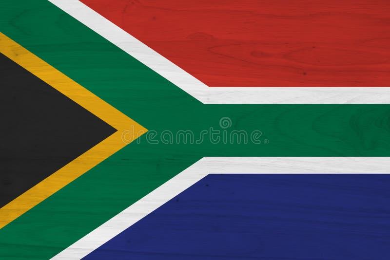 Uma bandeira velha r?stica de ?frica do Sul na madeira resistida fotografia de stock royalty free