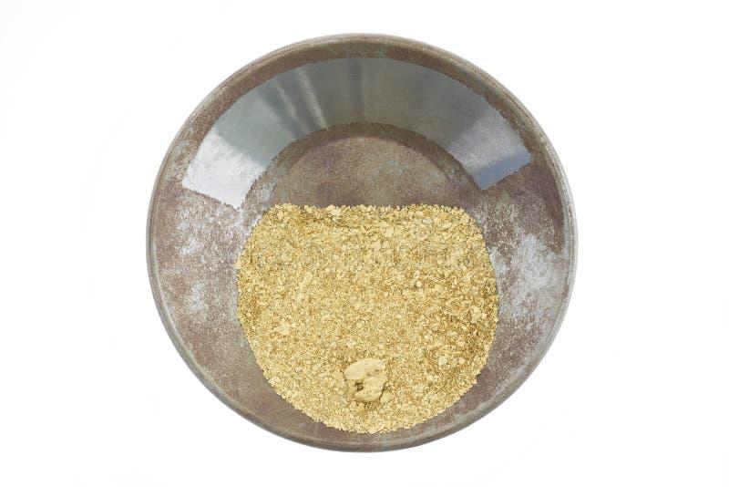 Uma bandeja do ouro encheu-se com o ouro natural do placer imagens de stock