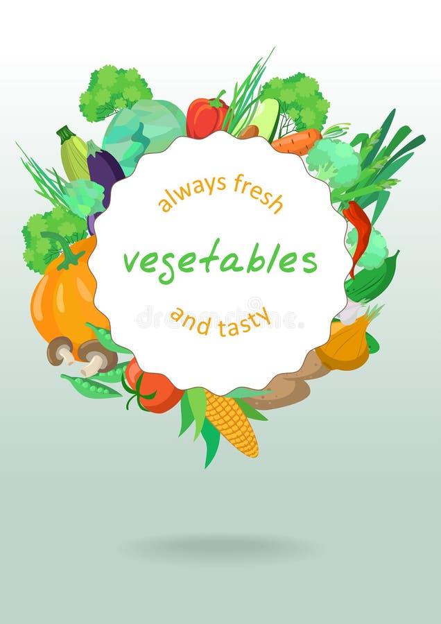 Uma beira do vetor de vegetais deliciosos ilustração royalty free