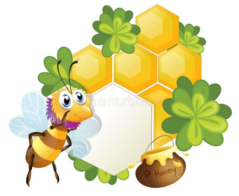 Uma beira original com uma abelha ilustração stock