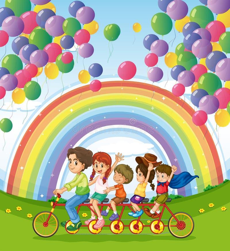 Uma bicicleta multi-rodada abaixo da flutuação balloons perto do rainbo ilustração do vetor