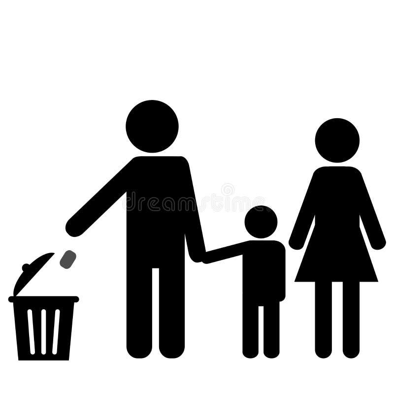 Uma boa família sabe onde dispor do lixo ilustração do vetor