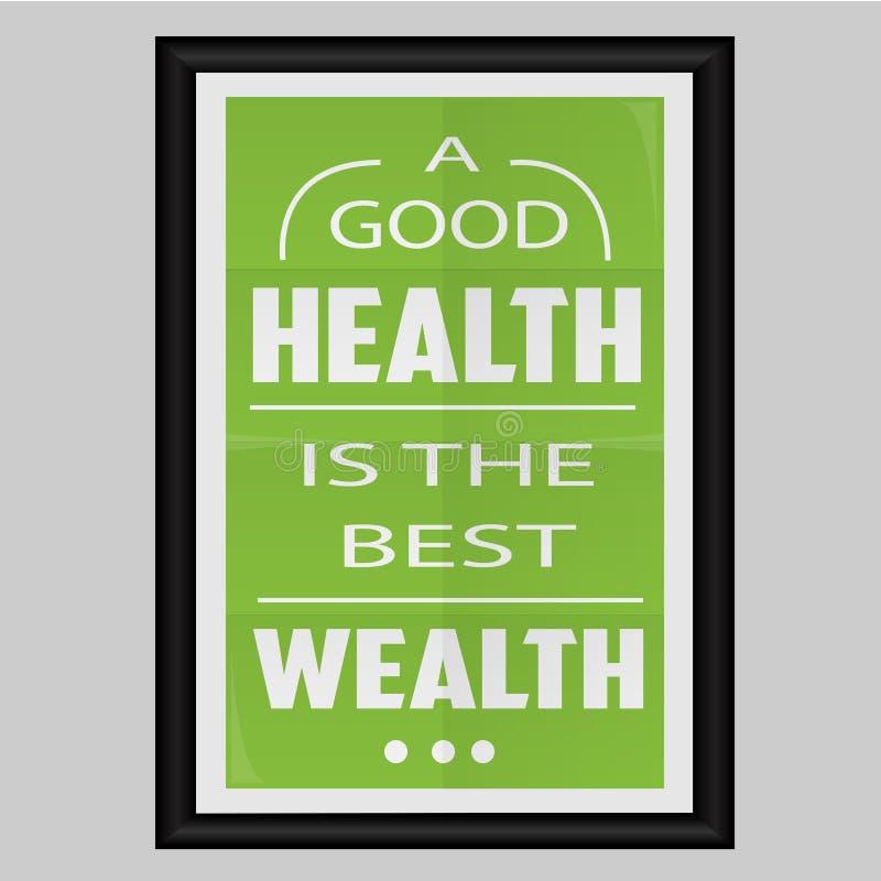 Uma boa saúde é a melhor riqueza ilustração do vetor