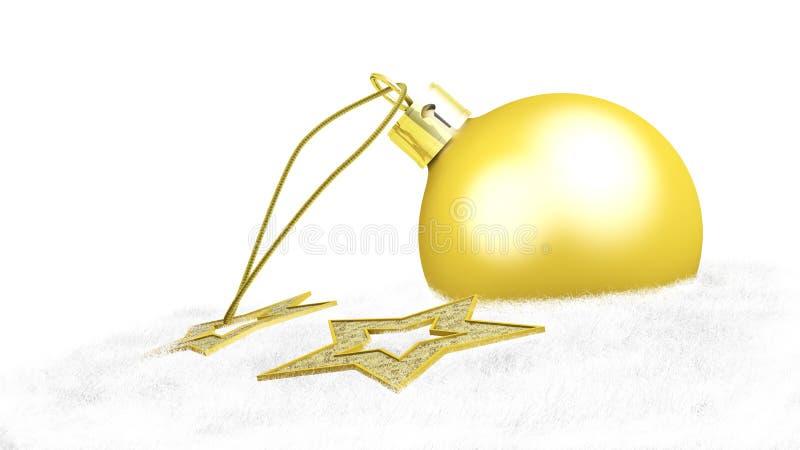 Uma bola amarela do Natal e duas estrelas ilustração do vetor