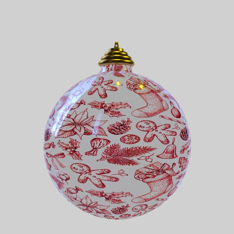 Uma bola do Natal no fundo branco fotografia de stock royalty free